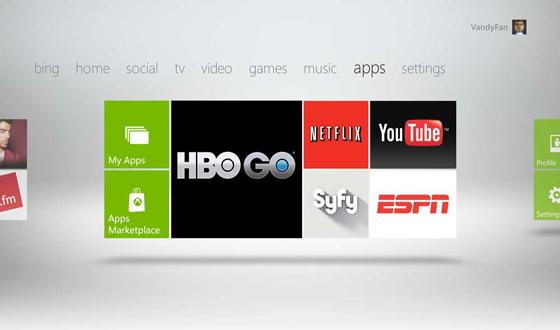 Xbox TV dashboard