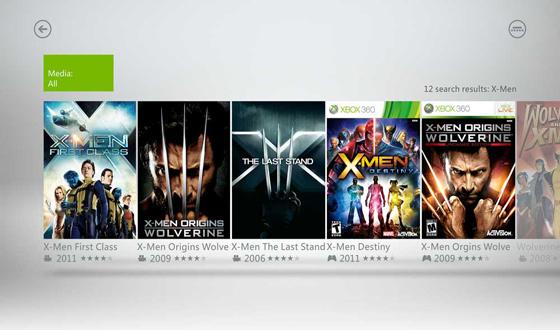 Xbox TV search results