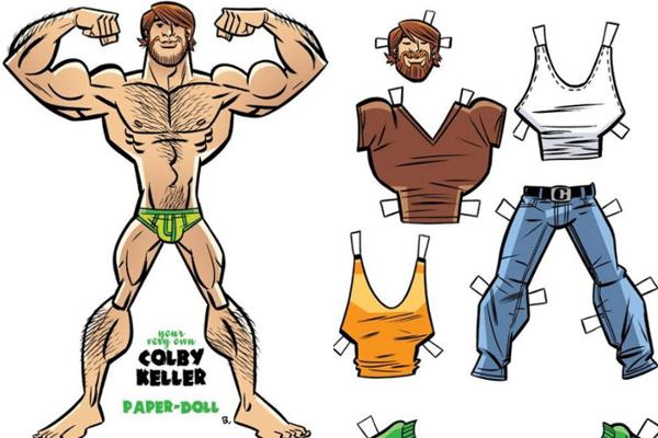 Paper Doll of Colby Keller by artist J. Bone (Toronto based comic book artist)